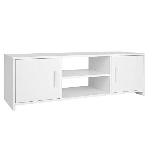 HOMFA Fernsehtisch TV Lowboard Tisch TV Möbel TV schrank TV Board Fernsehschrank Holz 110x35x40cm (Weiß)