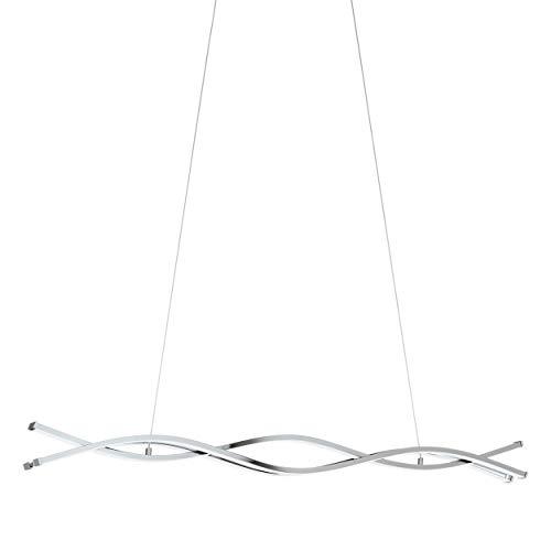 EGLO LED Pendellampe Lasana 2, 3 flammige Pendelleuchte, Hängeleuchte aus Alu, Stahl, Kunststoff, Farbe: chrom, weiß, L: 100 cm