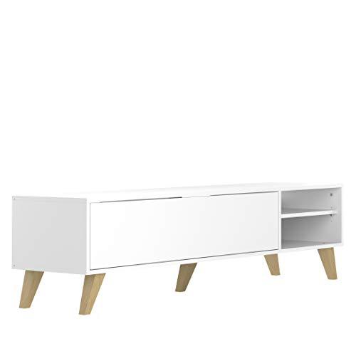 Movian Enol - TV-Board, 165x40x43.2 cm (L x T x H), Weißer Korpus/Beine Buche