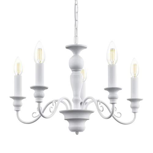 EGLO Pendelleuchte Caposile, 5 flammiger Kronleuchter Vintage, Landhausstil, Shabby Chic, Hängelampe aus Stahl in Weiß, Esstischlampe, Wohnzimmerlampe hängend mit E14 Fassung