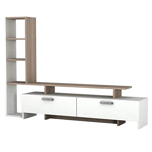 1919 Simal TV Board Lowboard Fernsehtisch Fernsehschrank Sideboard Fernseh Schrank Tisch für Wohnzimmer, Holz, Weiß Cordoba, mit Türen, großes Regalelement, viel Stauraum, 168,2 x 22 x 120 cm