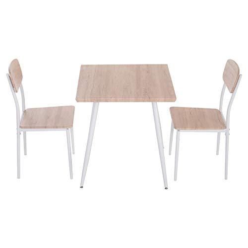 HOMCOM 3-teilige Essgruppe Sitzgruppe Esstisch Set Holztisch MDF + Metall Naturholzmaserung + Weiß mit 1 Tisch + 2 Stühlen