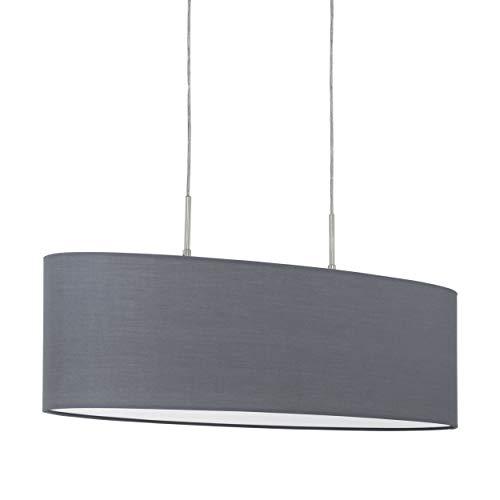 EGLO Pendellampe Pasteri, 2 flammige Textil Pendelleuchte, Hängeleuchte oval aus Stahl und Stoff, Farbe: nickel matt, grau, Fassung: E27, L: 75 cm