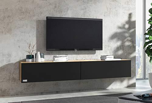 Wuun® TV Board hängend Lowboard Eiche (180cm, Schwarz-Matt)
