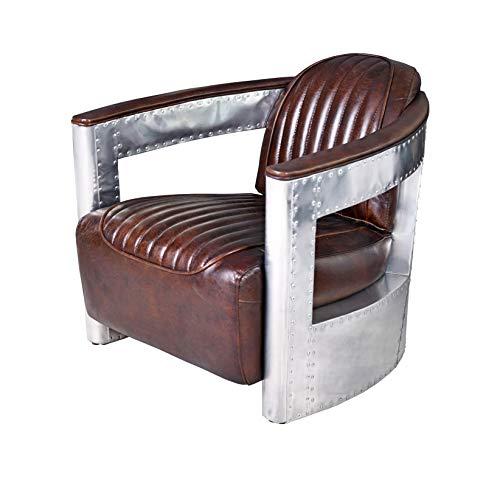 Vintage Sessel Aviator Clubsessel Leder & Metall Loungesessel Art Deco ovl011 Palazzo Exclusiv