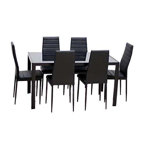 Essgruppe Tischgruppe Esstisch Stuhl Set Tischgruppe Esstischgruppe Sitzgruppe Esszimmergarnitur Glas Metall Esstisch (Schwarz, 1 Tisch (130 * 70 * 75cm) mit 6 Stühlen)
