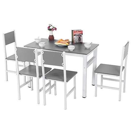 AYNEFY Moderne Essgruppe mit 1 Rechteckig Tisch 4 Stuhl Tischgruppe Esstischset Esstischgruppe mit Metallbeinen für Esszimmer Küche Wohnzimmer, grau + weiß