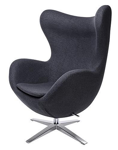 furnigo | Designer Sessel in Ei Form, Reproduktion, Zeitlos, Viele Farben, Wollstoff (Dunkel Grau)