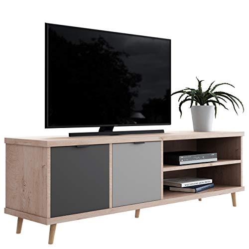 Newfurn TV Lowboard Grau Eiche Hirnholz TV Schrank Modern Vintage - 160x51x40 cm (BxHxT) - Fernsehtisch TV Board Rack - [Conni.Seven] Wohnzimmer