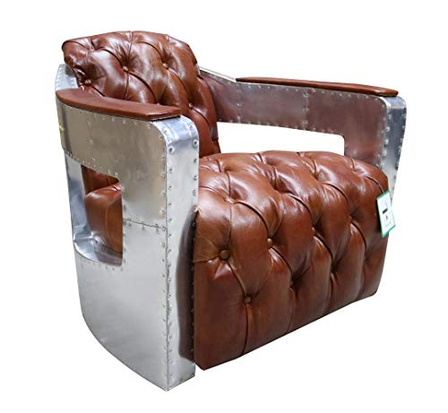 DesignerSofas4u.co.uk Aviator Chesterfield Sessel, geknöpft, Vintage-Stil, Hellbraun