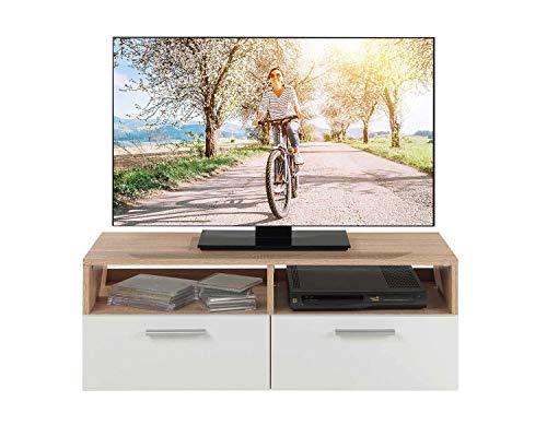 TV-Lowboard Fernsehschrank Fernsehtisch | Eiche Sonoma | weiß | 95x35x36 cm