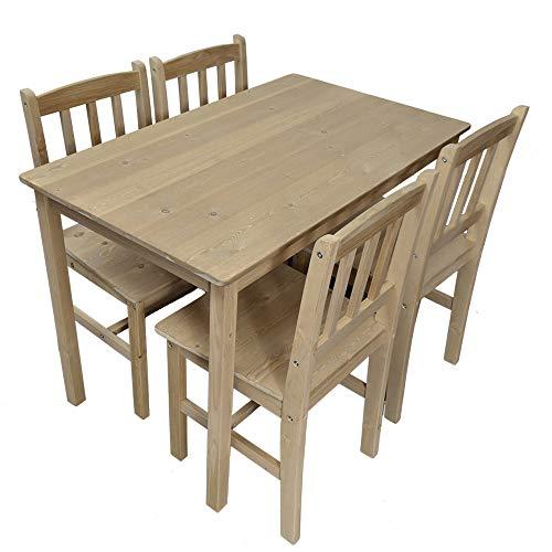 Essgruppe mit 1 Tisch 4 Stühle, Holz Tischgruppe Esstischset Sitzgruppe Esstischgruppe Esszimmergarnitur für 4 Personen, Esszimmergruppe für Küche Wohnzimmer Natur 6116-D04