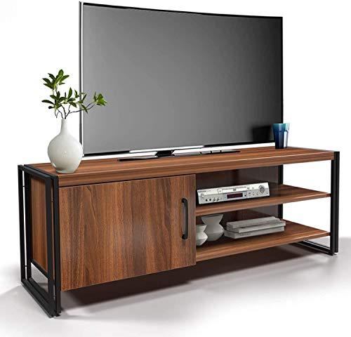 amzdeal Fernsehtisch TV Schrank für Fernseher bis zu 48 Zoll,TV Board mit Metallrahmen,TV Möbel Lowboard Tisch für Wohnzimmer,Fernsehschrank Holz,112x40x30cm,Dunkelbraun