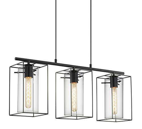 EGLO Pendellampe Loncino, 3 flammige Vintage Pendelleuchte, Hängelampe aus Stahl, Farbe: schwarz, Glas: Rauchglas, Fassung: E27, L: 74,5 cm