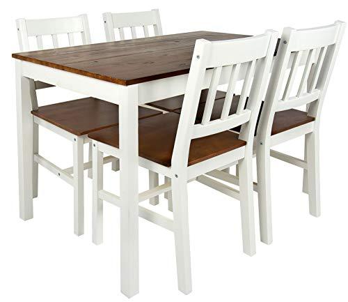 Merkell Leomark Schöne Essgruppe - White Walnut - Tisch und 4 Stühlen Kiefer Esstisch Naturholz, Esszimmergruppe für Küche, Komplett, Holz ESS Set, Esszimmergarnitur für 4 Personen