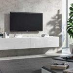 Wuun® TV Board hängend/8 Größen/5 Farben/160cm Matt Weiß- Weiß-Hochglanz/Lowboard Hängeschrank Hängeboard Wohnwand/Hochglanz & Naturtöne/Somero