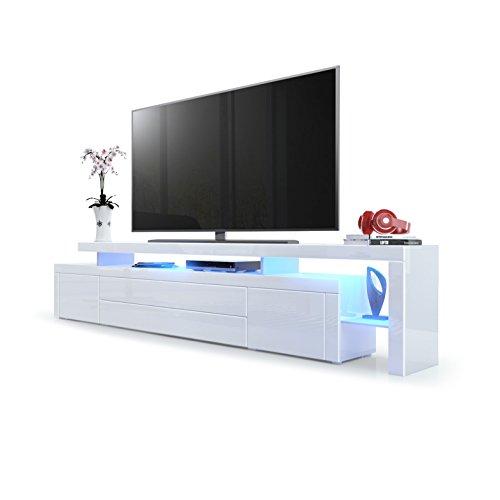 Vladon TV Board Lowboard Leon V3, Korpus und Überbau in Weiß Hochglanz/Front in Weiß Hochglanz mit Rahmen in Weiß Hochglanz inkl. LED Beleuchtung