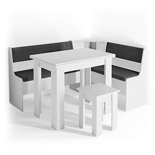 Vicco Eckbankgruppe Roman Esszimmergruppe Sitzgruppe Küchensitzgruppe Polster Truhe (Weiß)