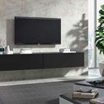 Wuun® 180cm/Schwarz-Matt (Korpus Schwarz-Matt)/8 Größen/5 Farben/TV Lowboard TV Board hängend Hängeschrank Wohnwand/Somero