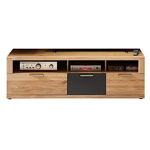 Bianco TV-Board teil-massiv aus Wildeiche - hochwertiges Low-Board für Ihr Wohnzimmer - 160 x 52 x 48 cm (B/H/T)