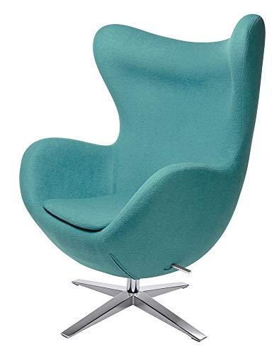 furnigo | Designer Sessel in Ei Form, Reproduktion, Zeitlos, Viele Farben, Wollstoff (Türkis)