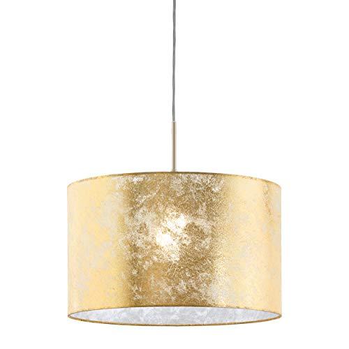 EGLO Pendelleuchte Viserbella, 1 flammige Hängelampe Vintage, Hängeleuchte aus Stahl und Textil in champagner, gold, Esstischlampe, Wohnzimmerlampe hängend mit E27 Fassung, Ø 38 cm