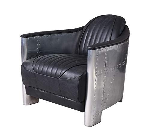 Sessel Vintage Leder Armlehnsessel Aluminium Loungesessel Cocktailsessel ovl213 Palazzo Exklusiv