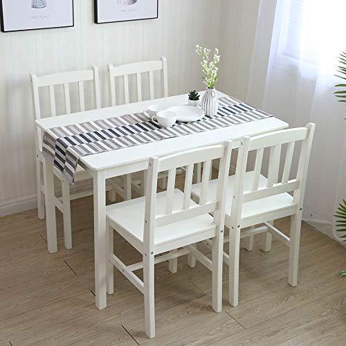 Tischgruppe mit 1 Tisch 4 Stühle Essgruppe Esstischset Sitzgruppe Esstischgruppe Esszimmergarnitur für 4 Personen Esszimmergruppe für Küche Wohnzimmer Massivholz 6116 (1.Weiß)